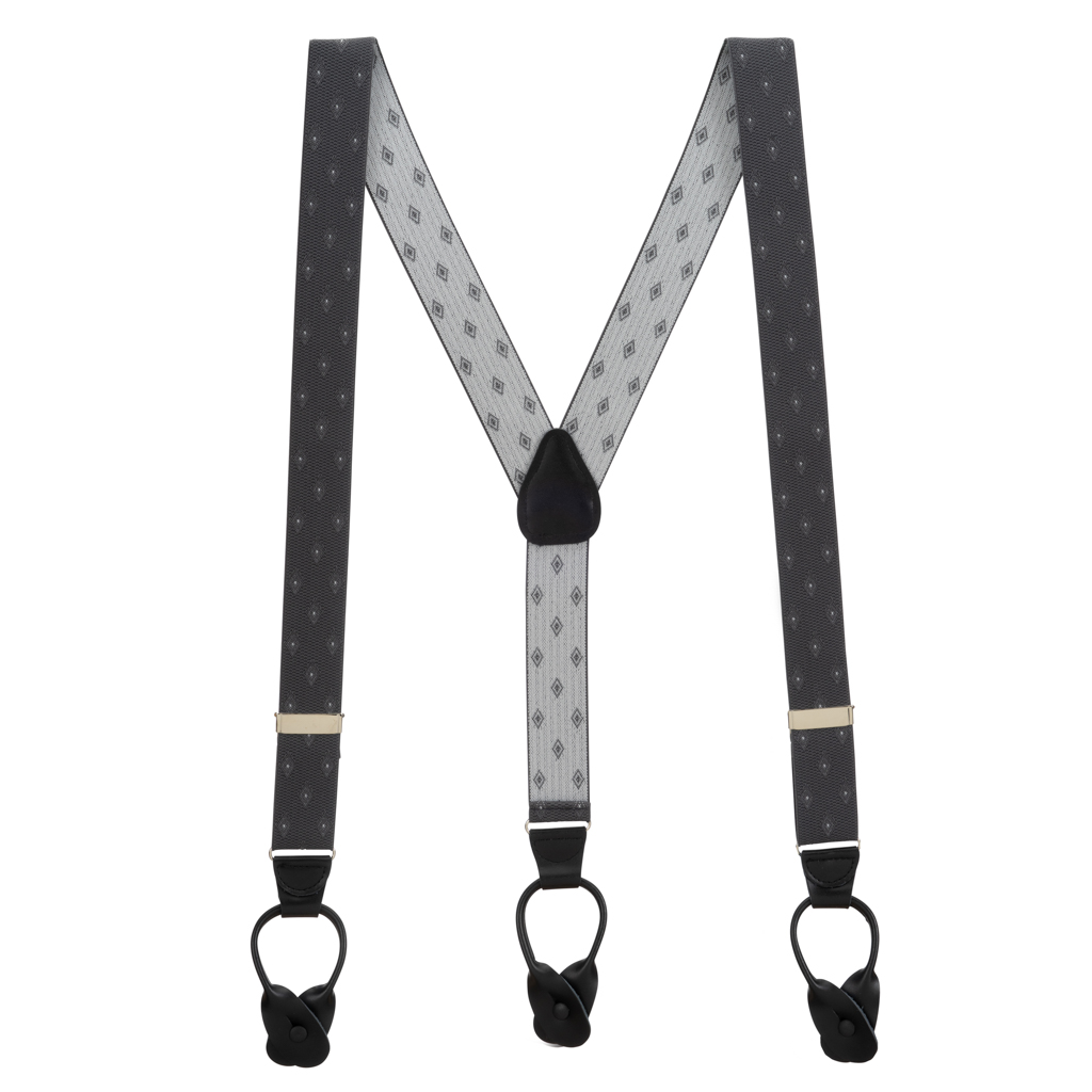 Grey Jacquard Woven Diamond Suspenders - Full View