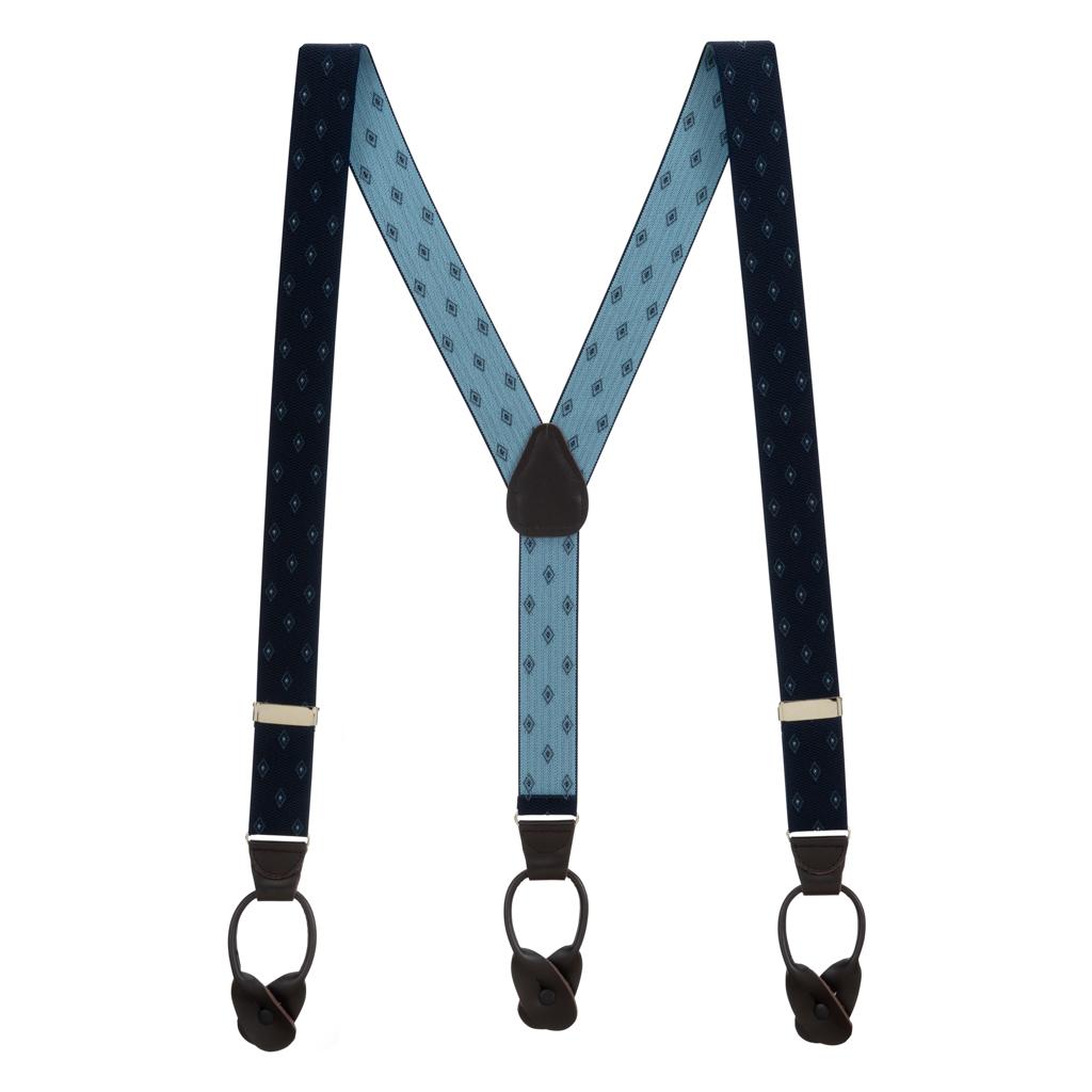 Navy Jacquard Woven Diamond Suspenders - Full View