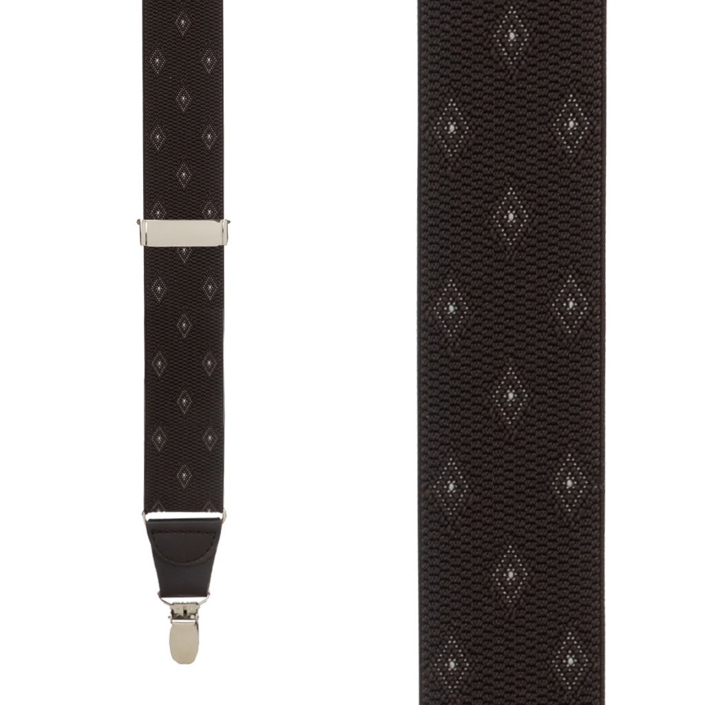 Jacquard Woven Diamond Suspenders in Brown - Front View