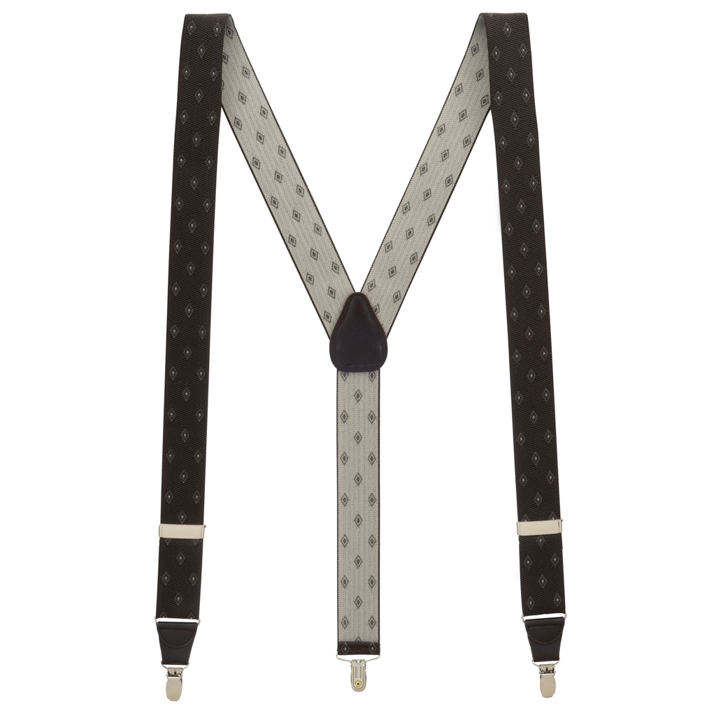 Jacquard Woven Diamond Suspenders in Brown - Full View