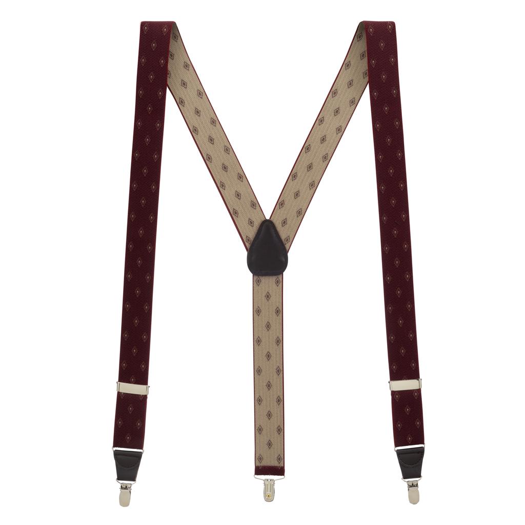 Jacquard Woven Diamond Suspenders in Burgundy - Full View