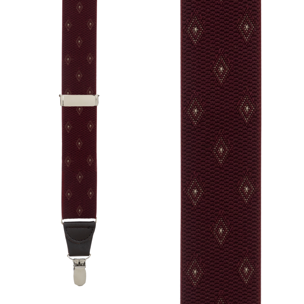 Jacquard Woven Diamond Suspenders in Burgundy - Front View