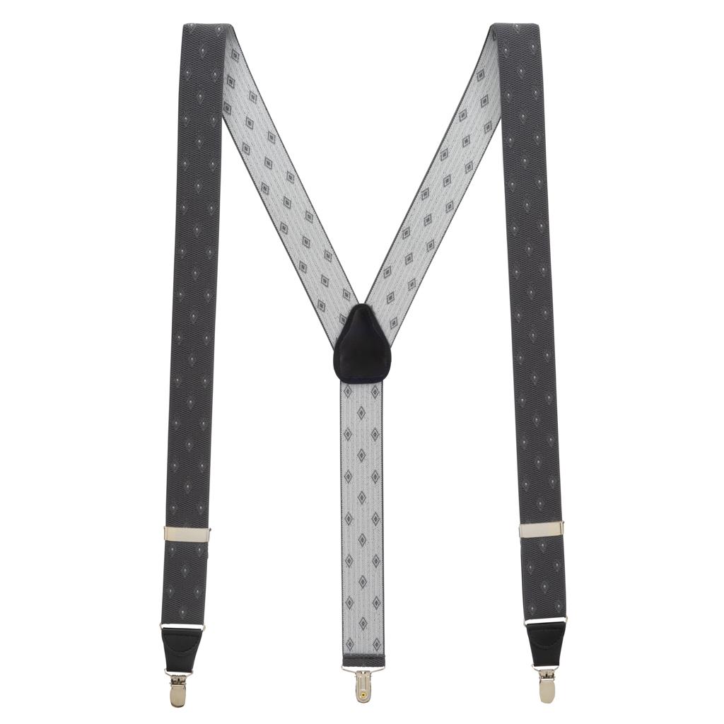 Jacquard Woven Diamond Suspenders in Grey - Full View