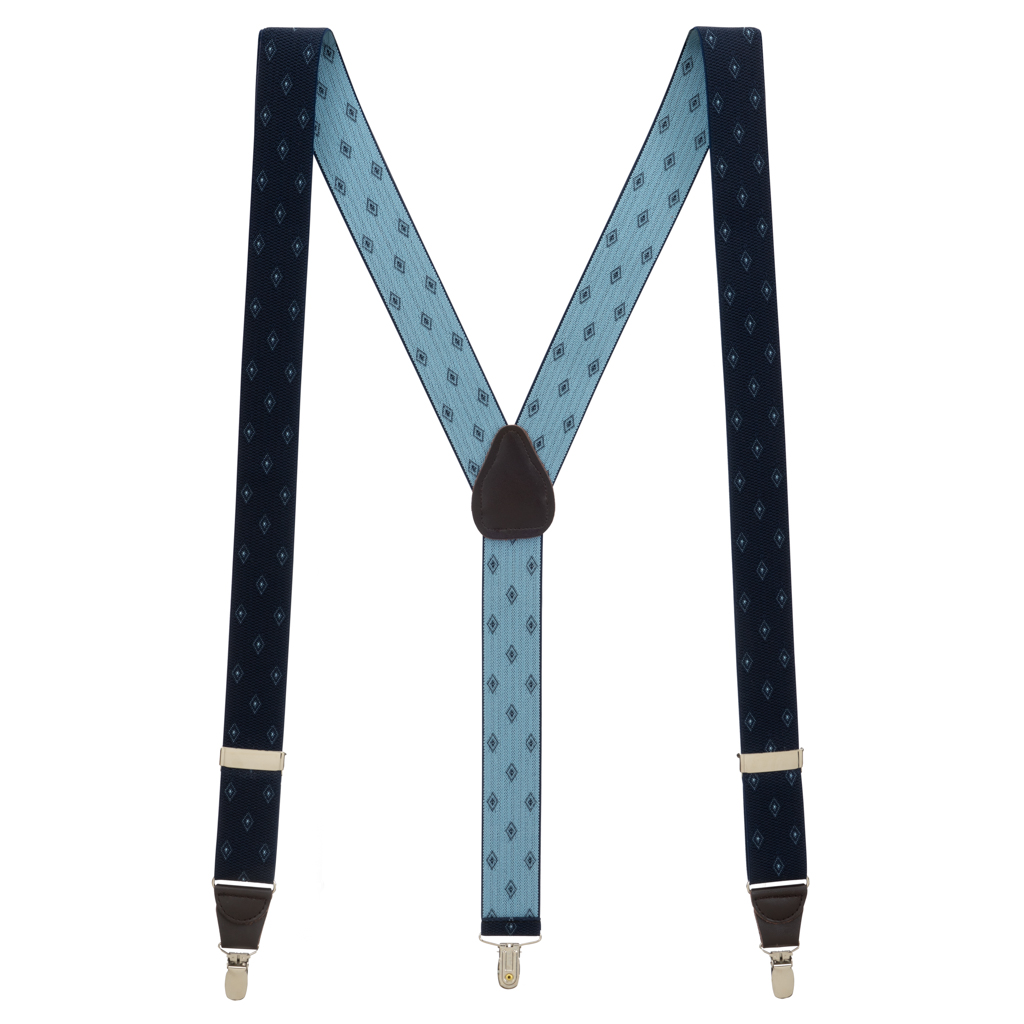 Jacquard Woven Diamond Suspenders in Navy - Full View