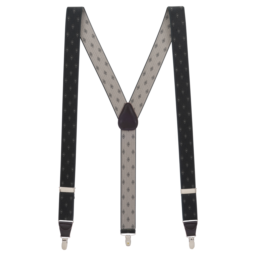 Olive Jacquard Woven Diamond Suspenders - Full View