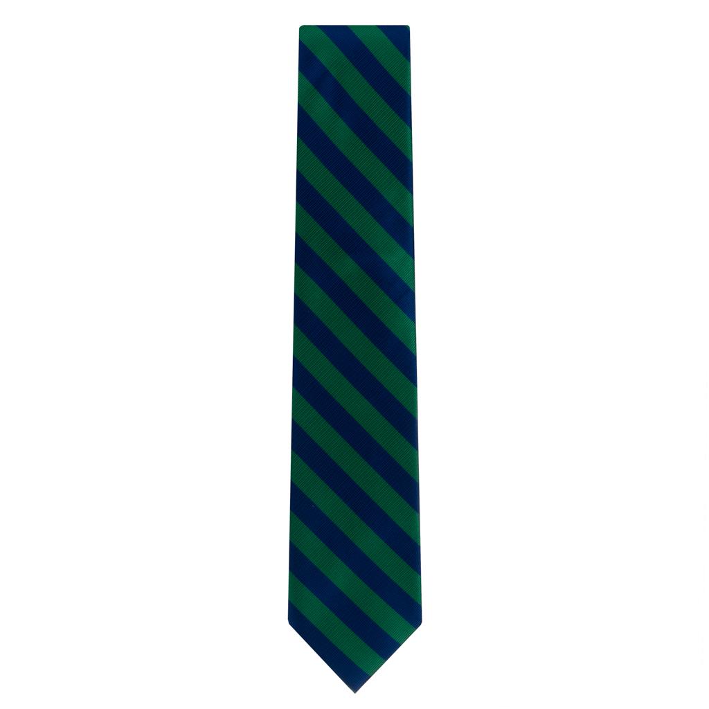 Navy & Lime Striped Necktie
