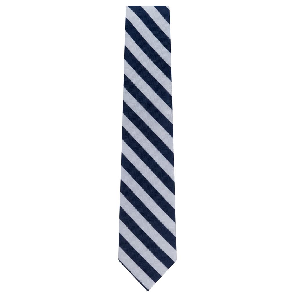 Navy & White Striped Necktie