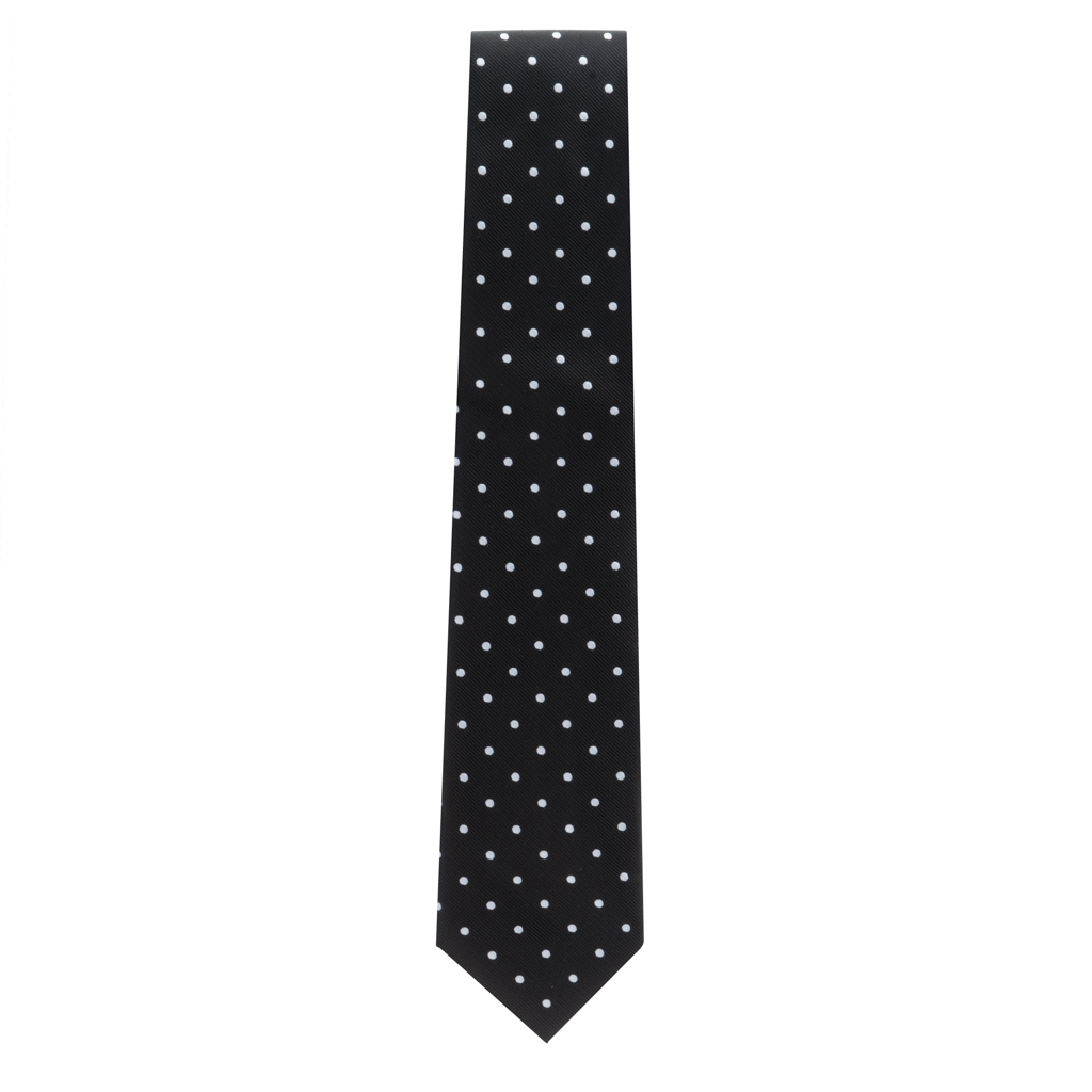 Black With White Polka Dots Necktie