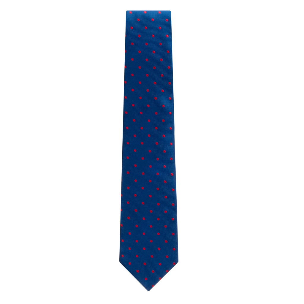 Navy With Red Polka Dots Necktie