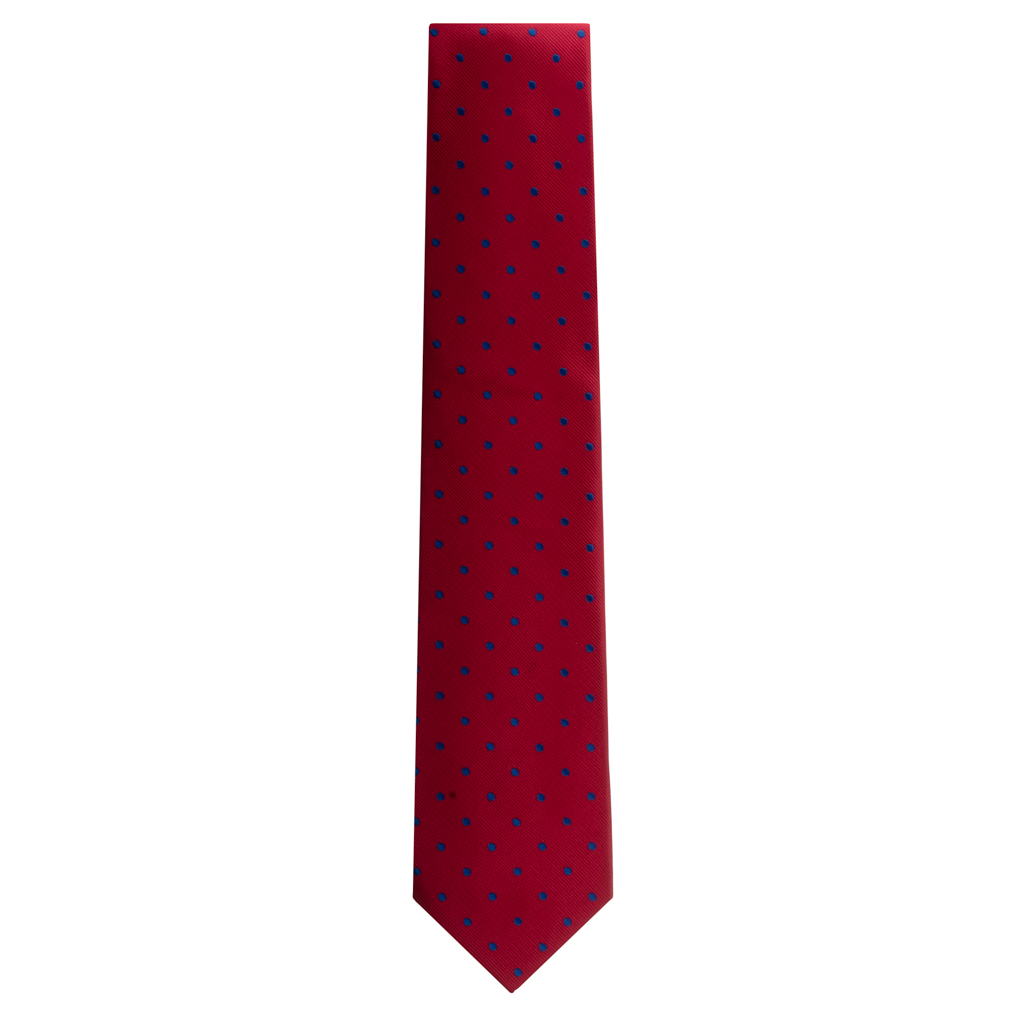 Red with Navy Polka Dots Necktie by Oxford Kent