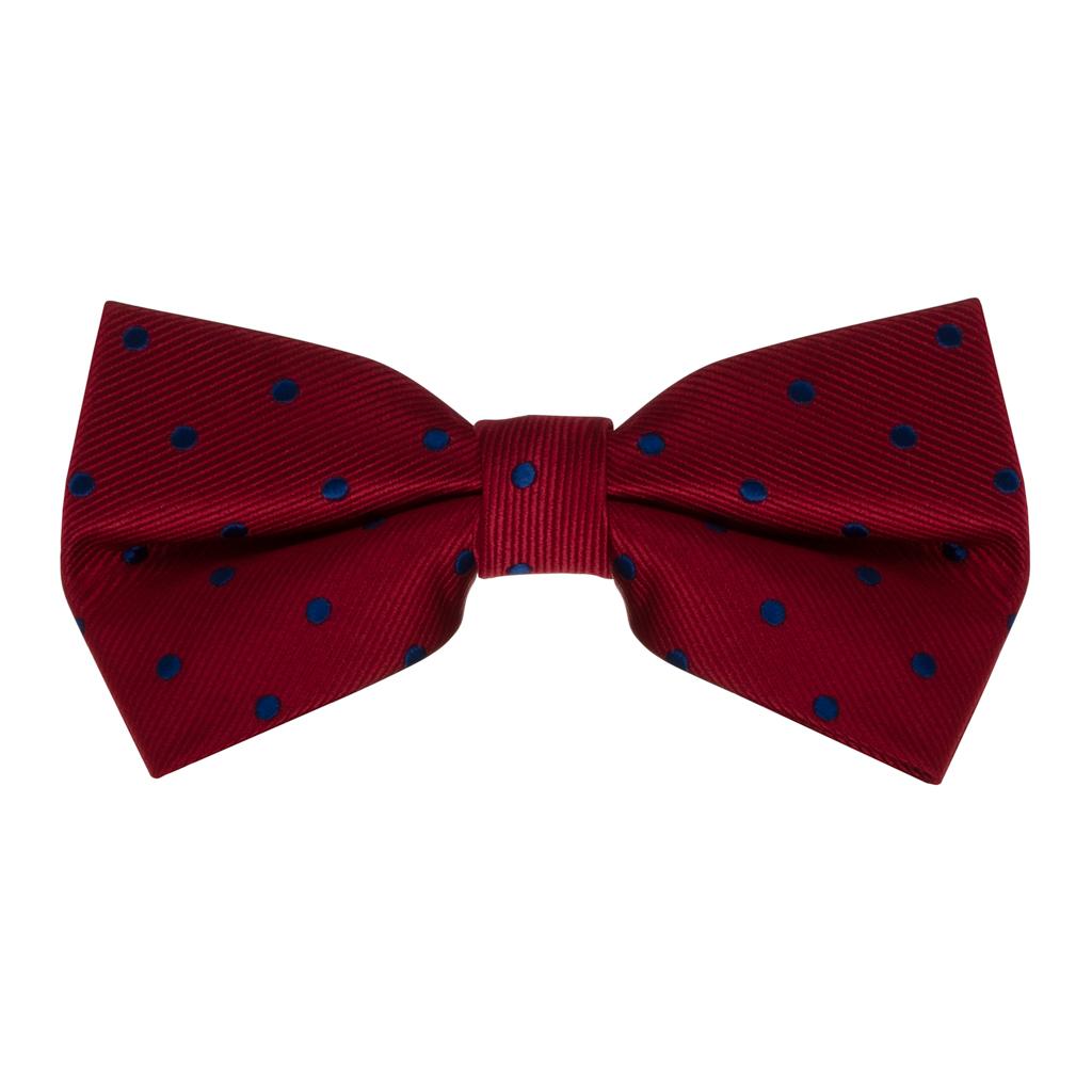 Red & Navy Polka Dot Bow Tie