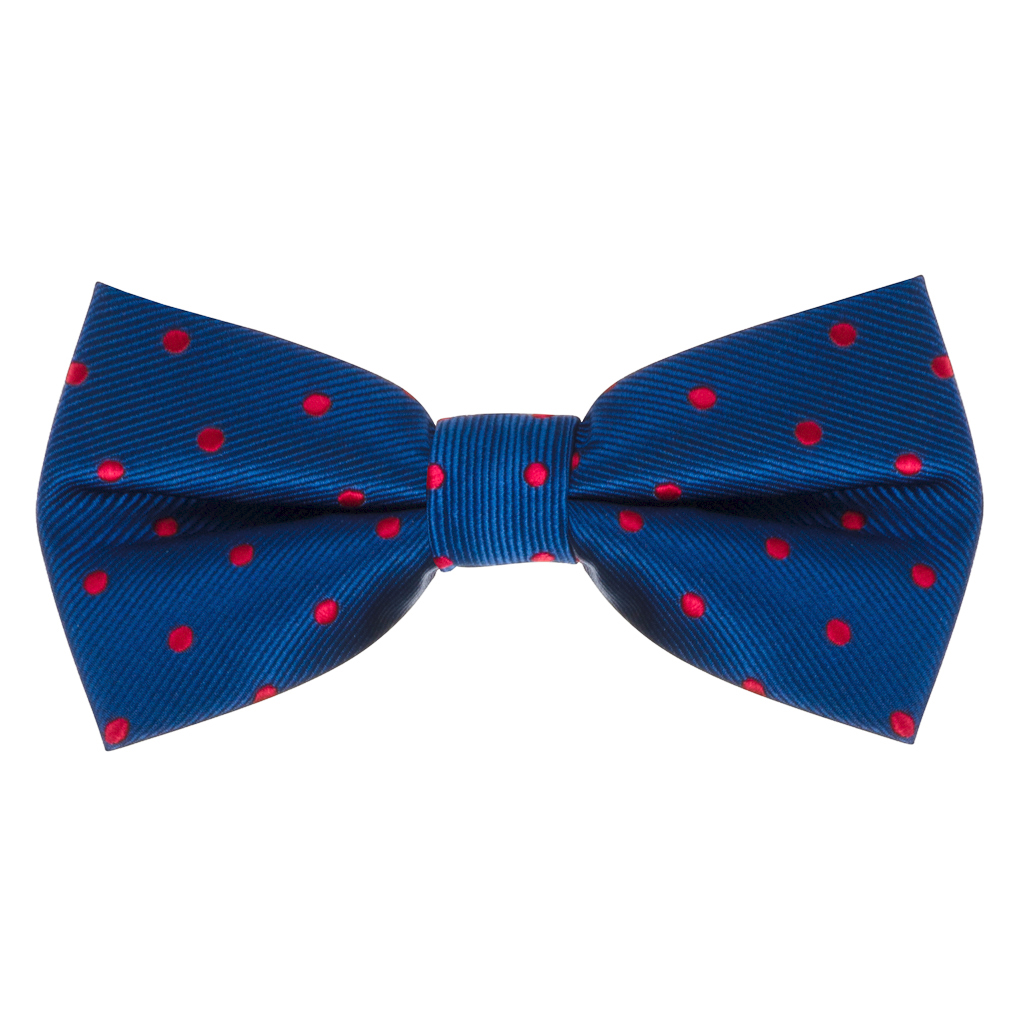 Navy & Red Polka Dot Bow Tie