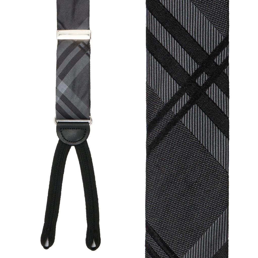 Silver Silk Suspender - Front View