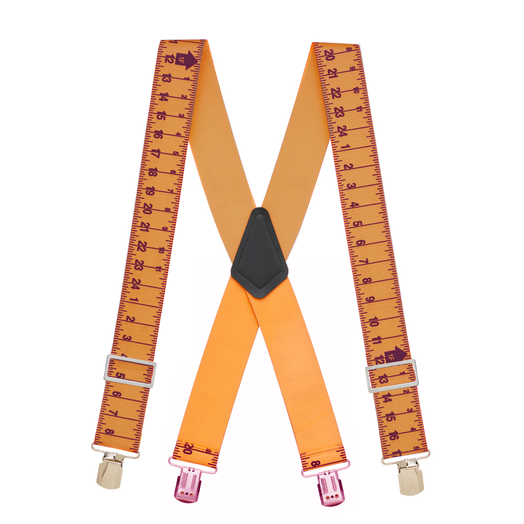 Tape Measure Heavy Duty Work Suspenders - Full View
