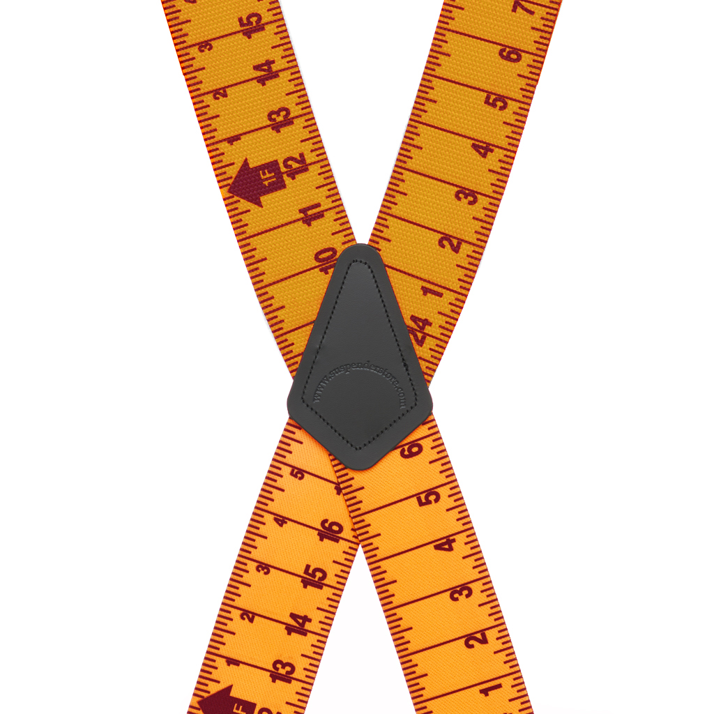 Tape Measure Heavy Duty Work Suspenders - Rear View