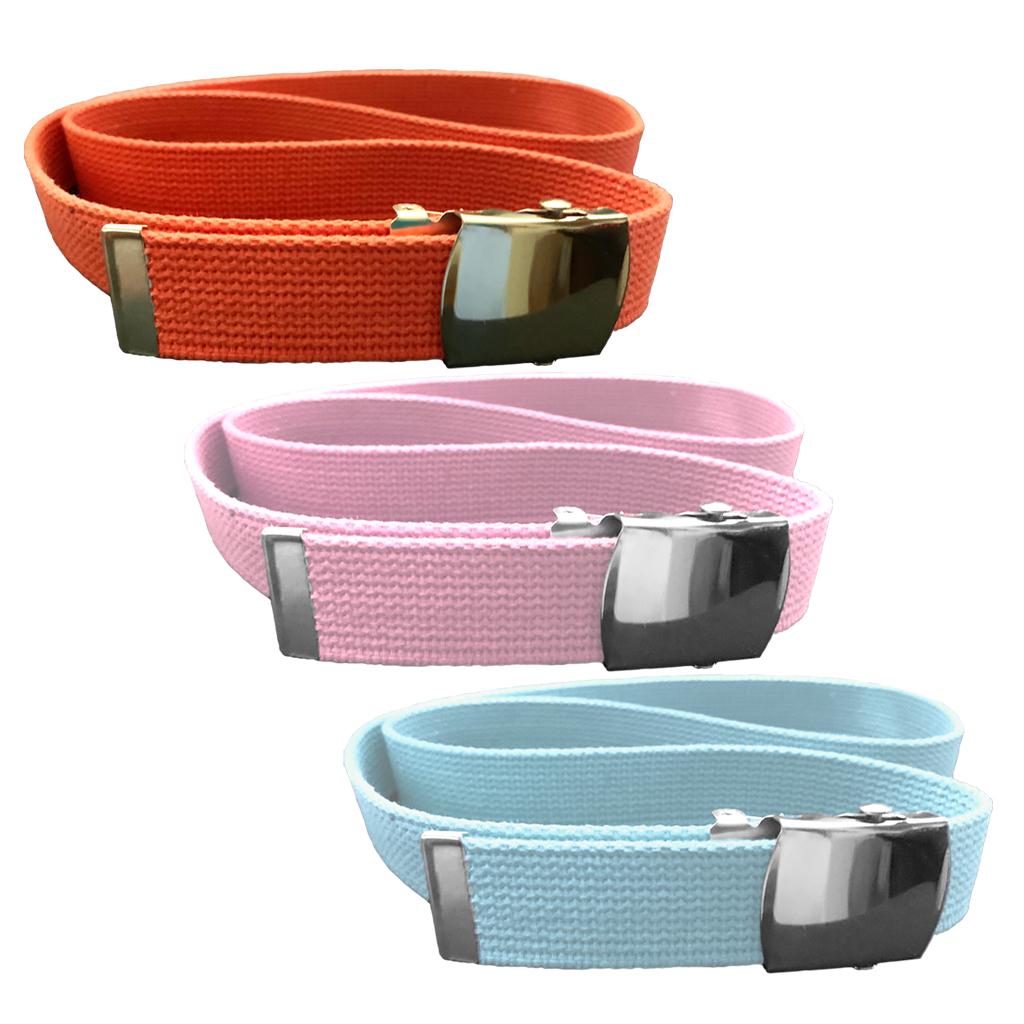 Cotton Web Belts - 3 pack includes Orange, Pastel Blue & Pastel Pink