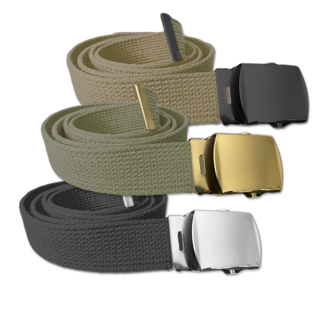 Cotton Web Belts - 3 pack includes Black, Olive & Khaki