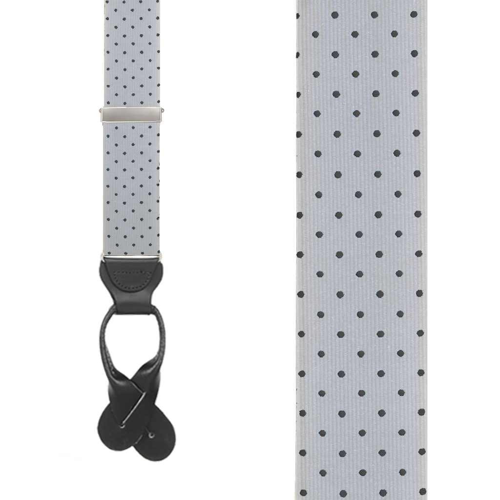 Polka Dot Silk Suspenders - Silver with Black Polka Dots - Front View
