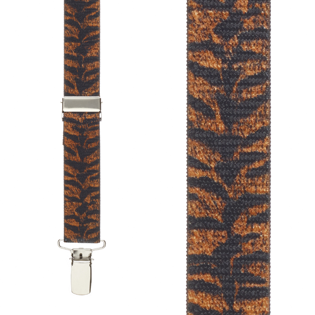 Tiger Print Suspenders - Front View