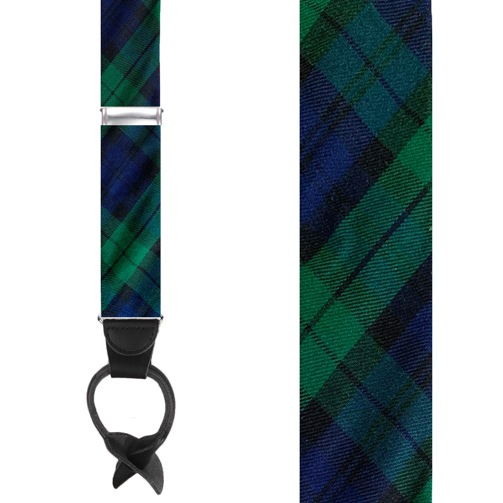Tartan Plaid Button Suspenders in Black Watch - Front View