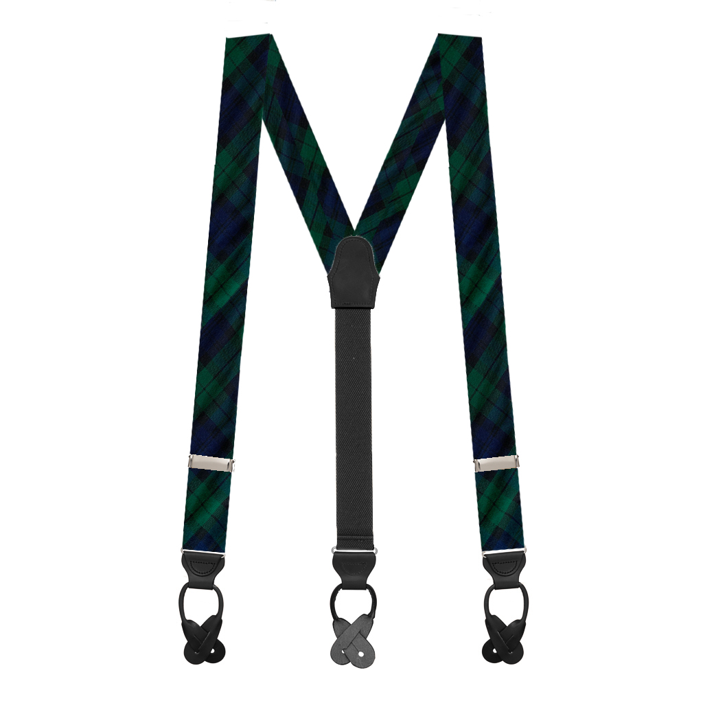 Tartan Plaid Button Suspenders in Black Watch - Full View