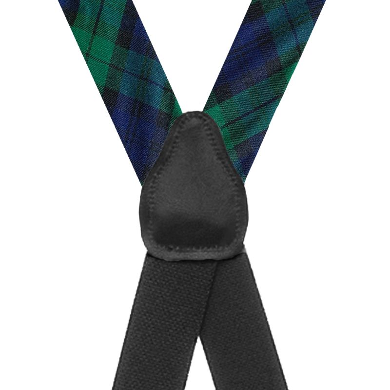 Tartan Plaid Clip Suspenders in Black Watch - Rear View
