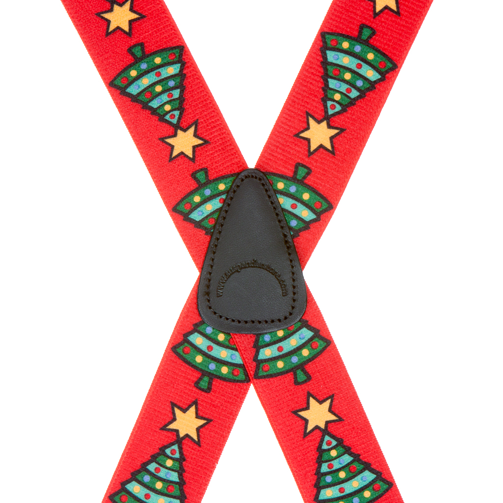 Big & Tall 1.5-inch Suspenders in Christmas Tree Pattern - Rear View