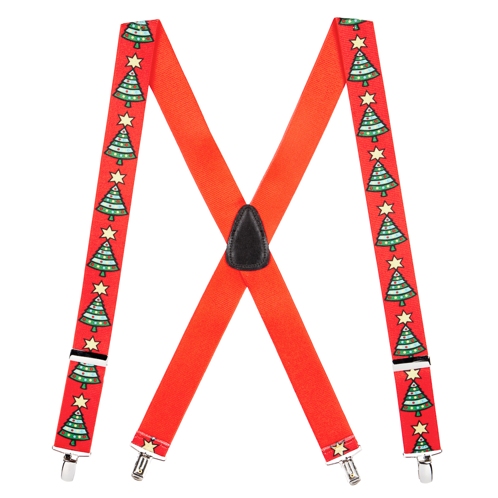 Big & Tall 1.5-inch Suspenders in Christmas Tree Pattern - Full View
