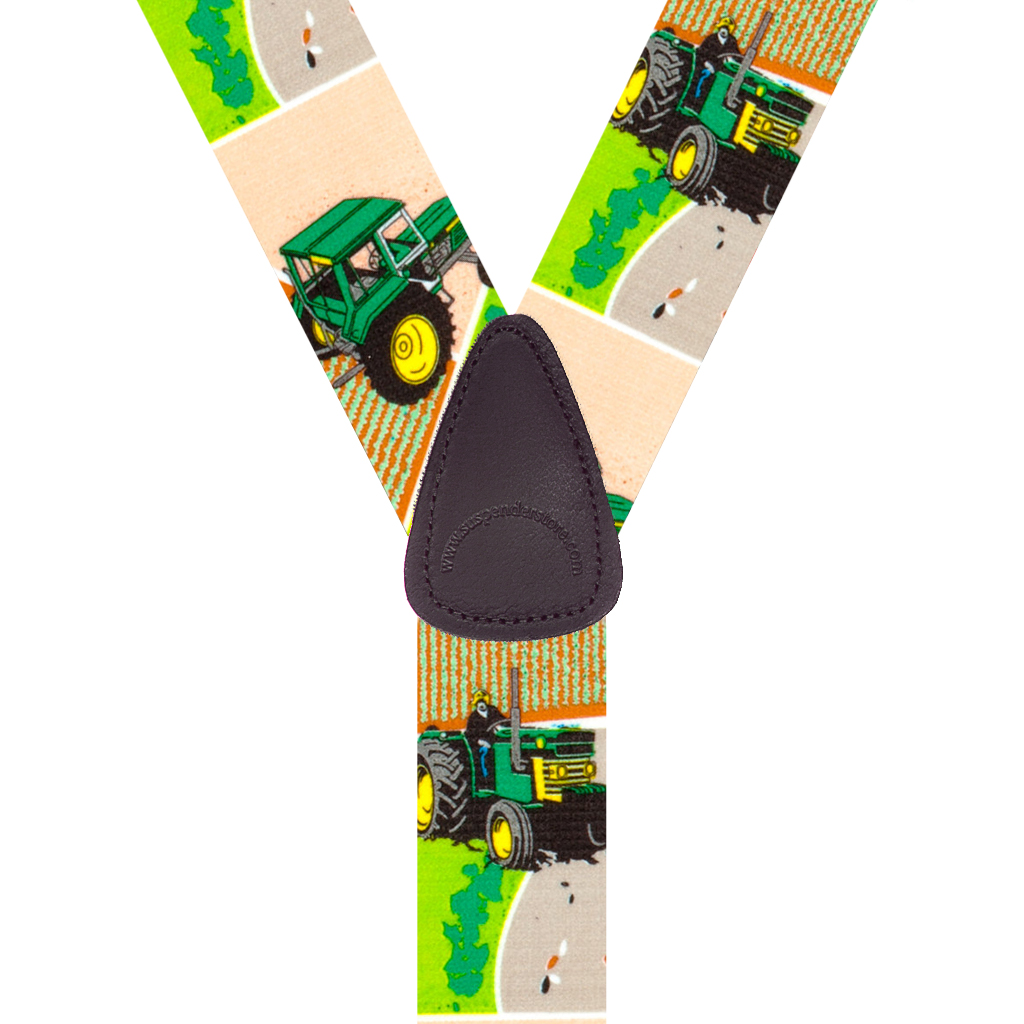 GREEN TRACTORS 1.5-Inch Wide Trigger Snap Suspenders - Rear View