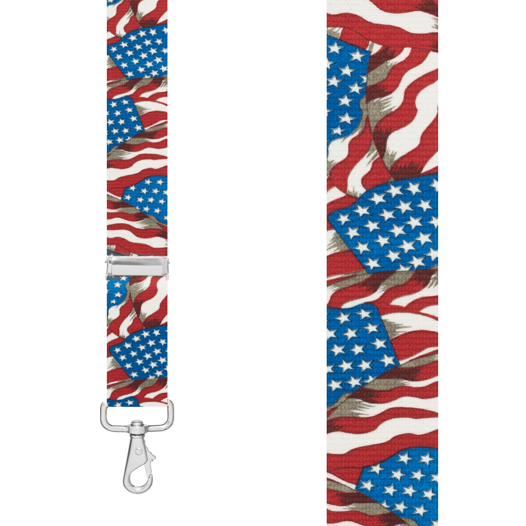1.5-Inch Wide Trigger Snap Suspenders in Old Glory Pattern - Front View