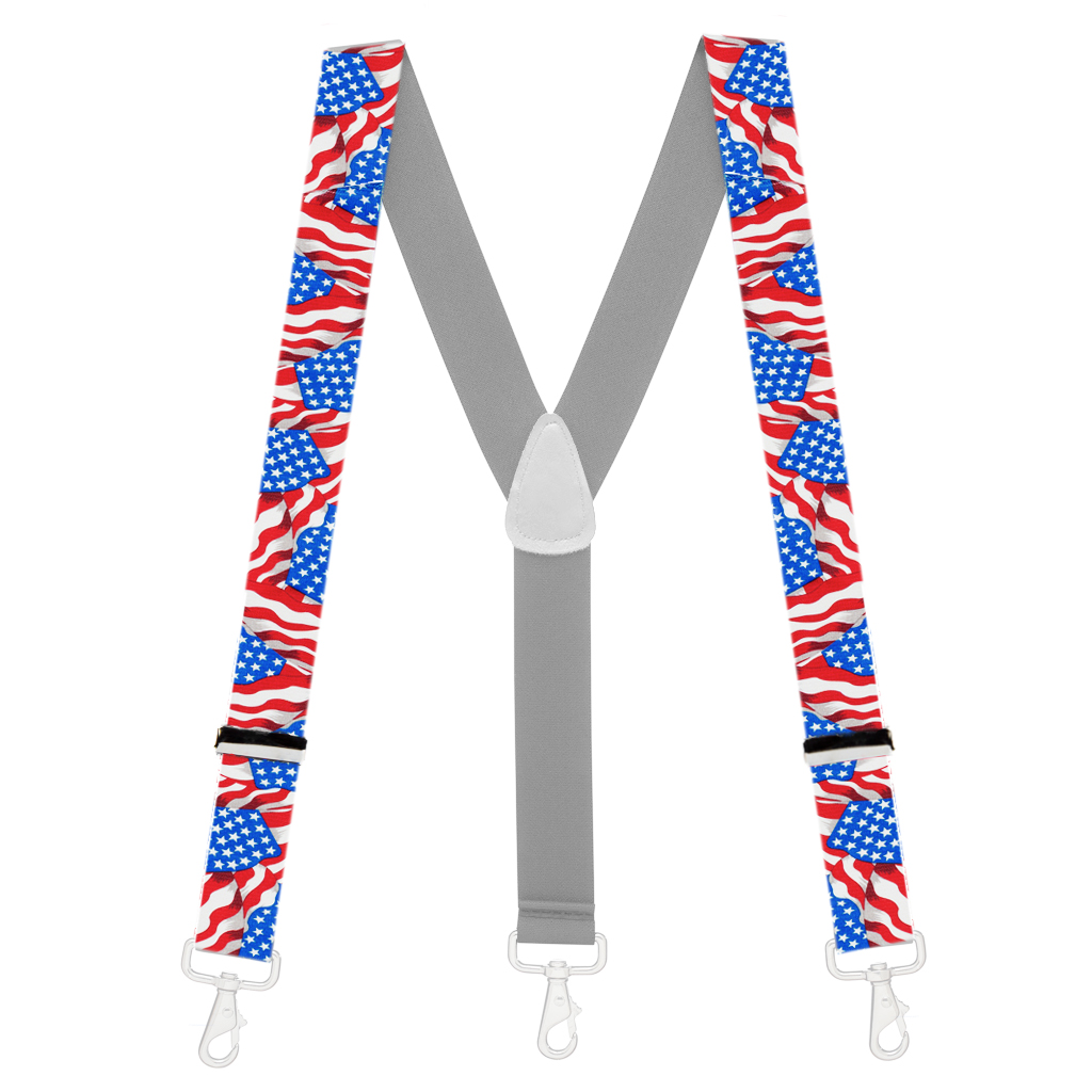 1.5-Inch Wide Trigger Snap Suspenders in Old Glory Pattern - Full View