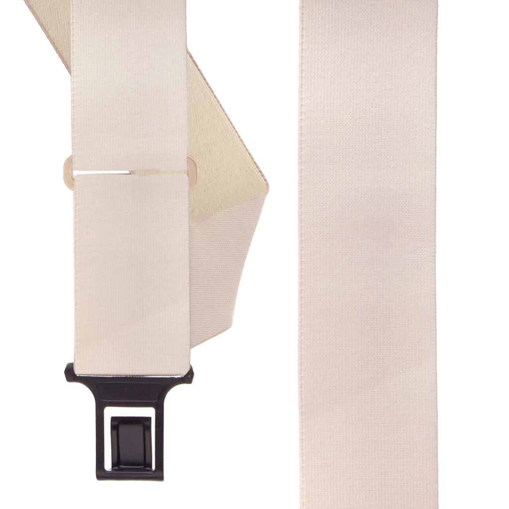 BEIGE Undergarment Suspenders - Perry SIDE Belt Clip - Front View