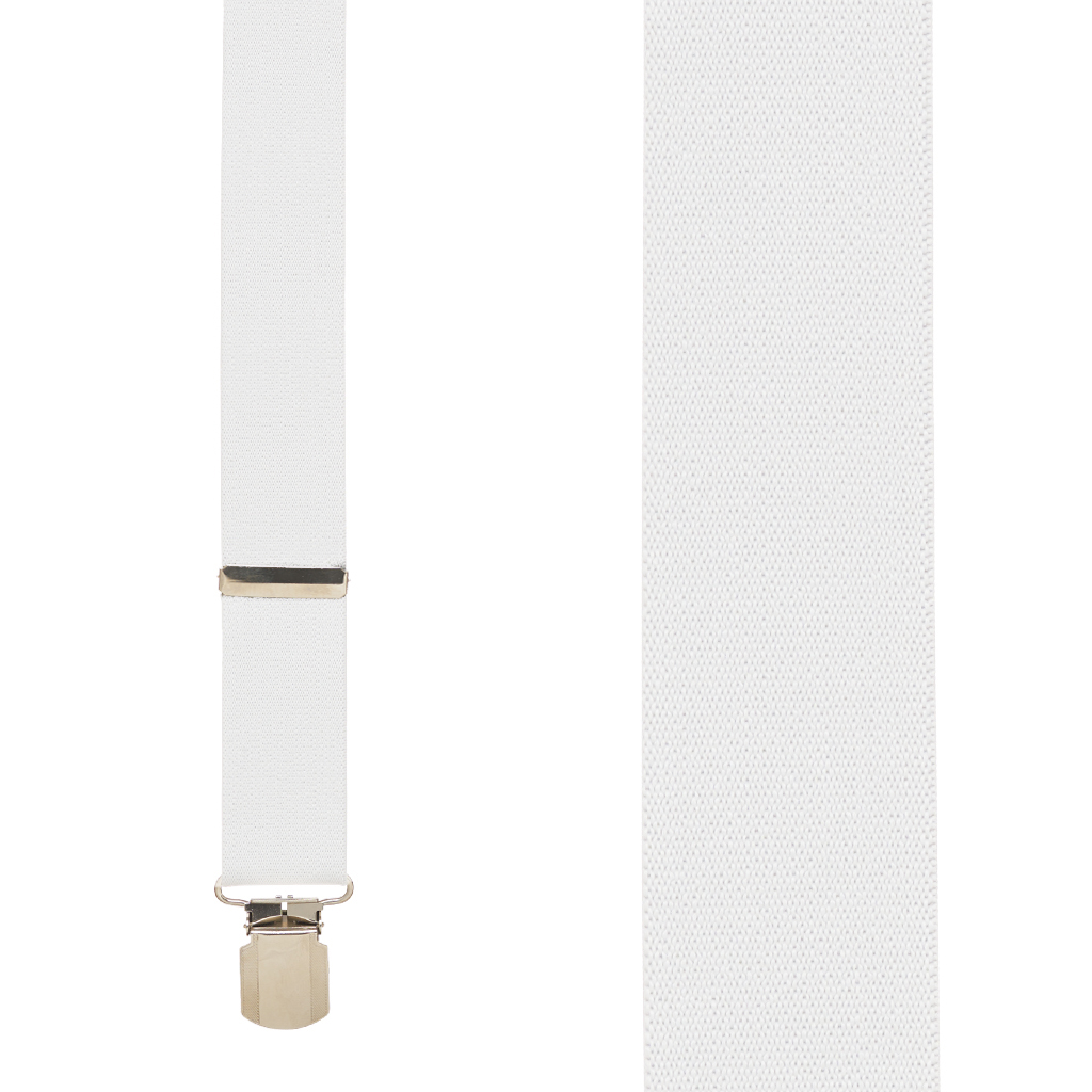 1.5 Inch Wide Pin Clip Suspenders in White - Front View