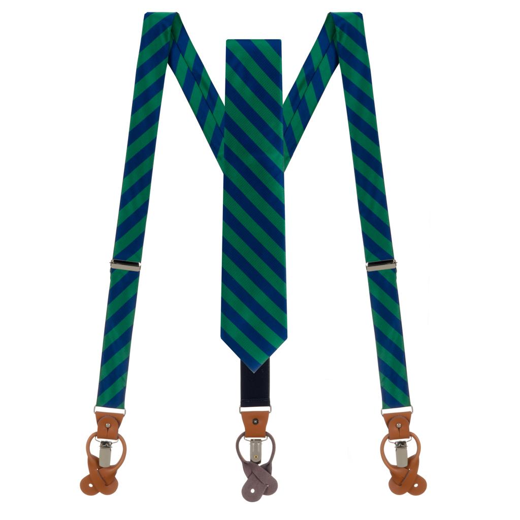 Oxford Kent Necktie & Suspender Set in Bold Stripe Navy Lime