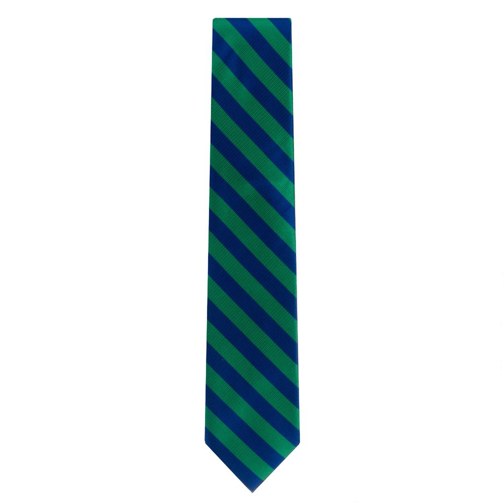 Oxford Kent Necktie in Bold Stripe Navy/Lime