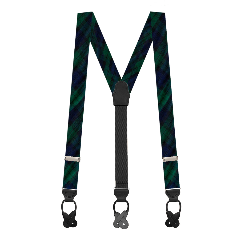 Button Suspenders in Black Watch Pattern - Full View