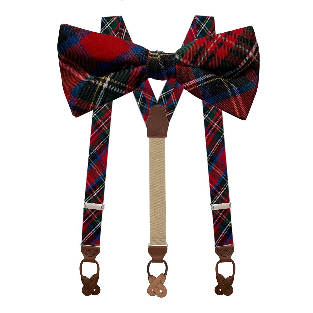 Bow Tie & Suspenders Set in Royal Stewart - Button