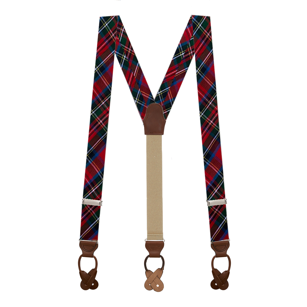 Button Suspenders in Royal Stewart - Full View