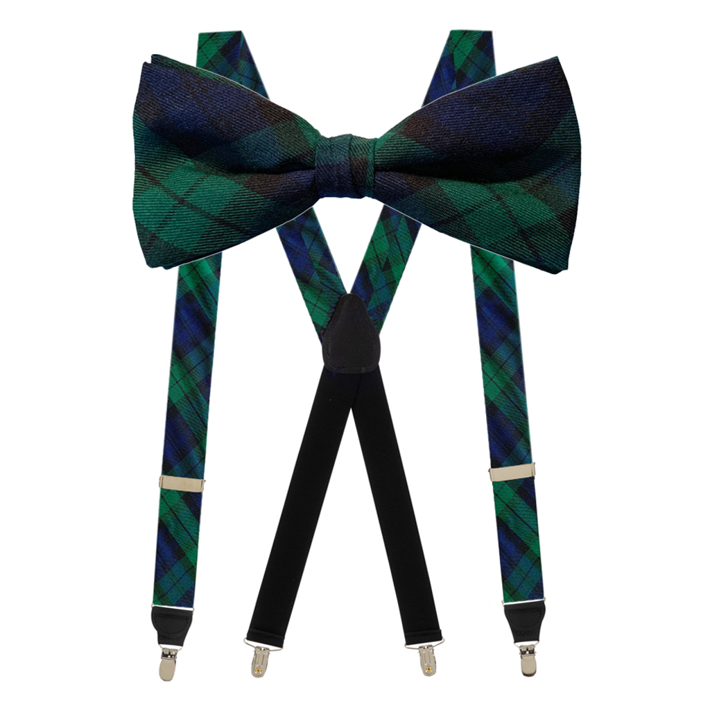 Tartan Bow Tie & Suspenders Sets in Black Watch - Clip