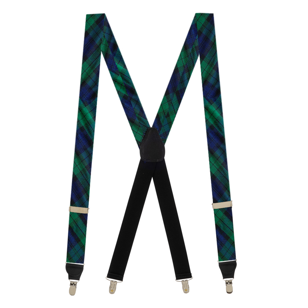 Tartan Suspenders in Black Watch - Full View