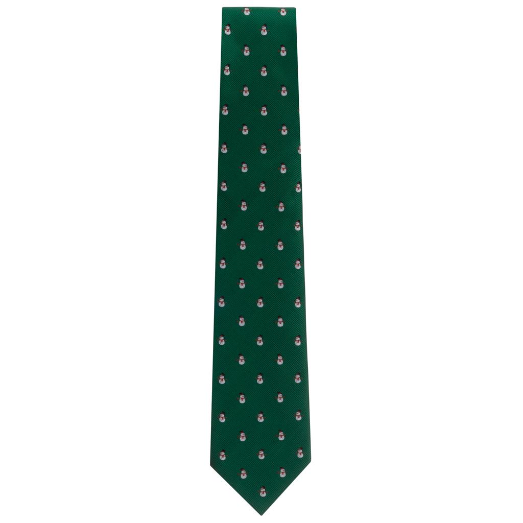 Necktie in Snowmen on Green Pattern