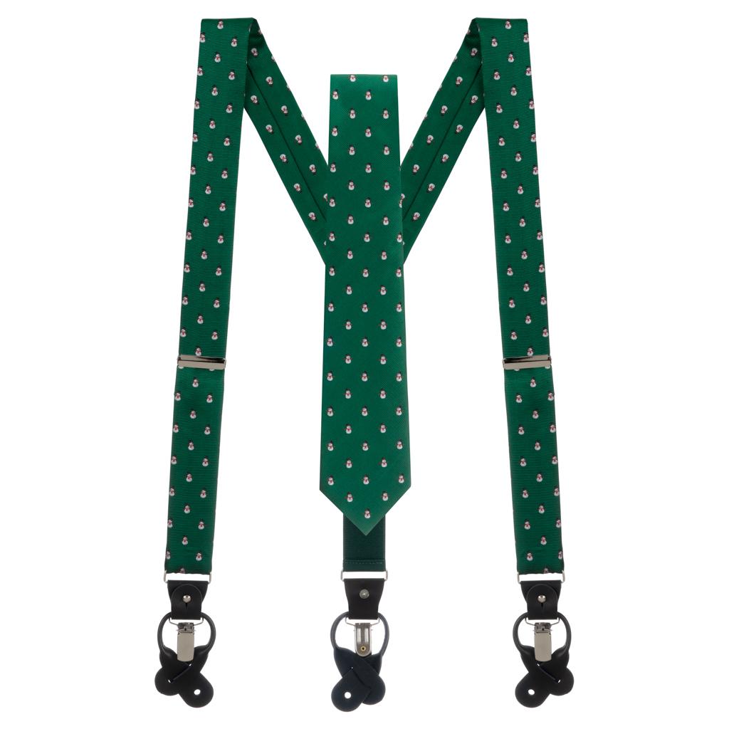 Necktie and Suspenders Set in Snowmen on Green