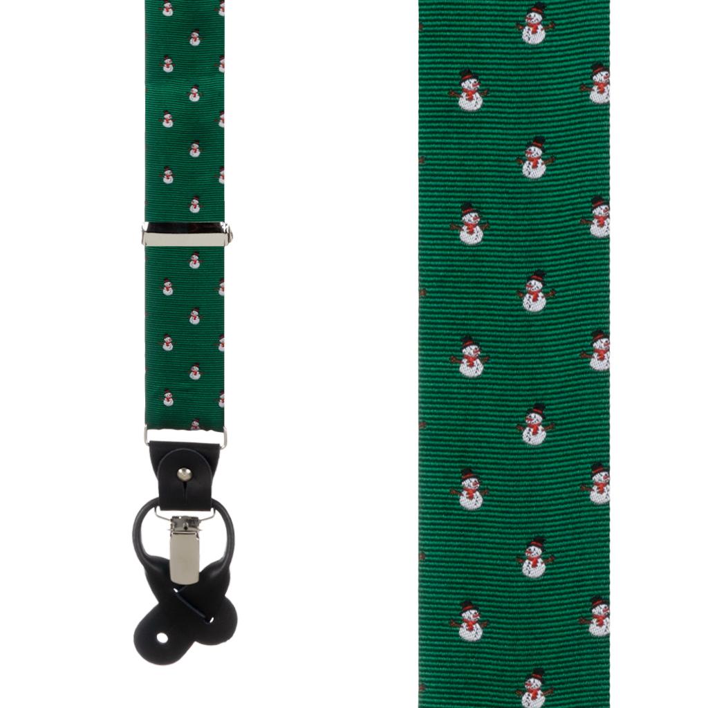 Suspenders in Snowmen on Green Pattern - Front View