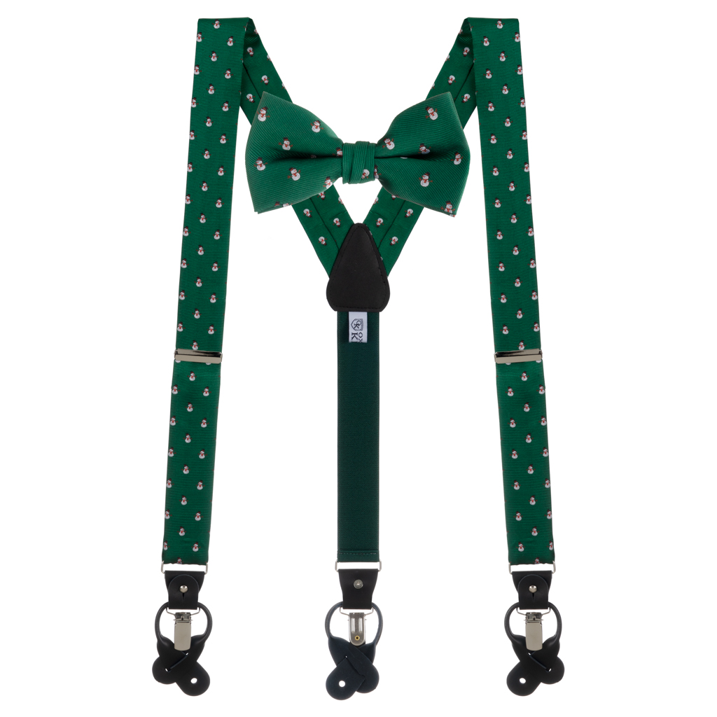 Bow Tie and Suspenders Set in Snowmen on Green