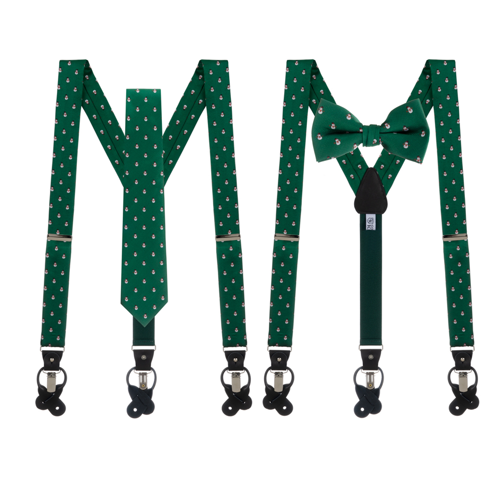 Tie and Suspenders Sets in Snowmen on Green