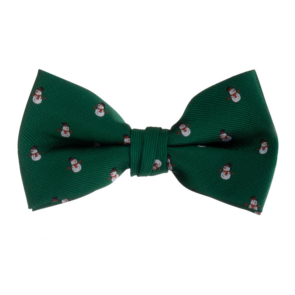 Bow Tie in Snowmen on Green Pattern