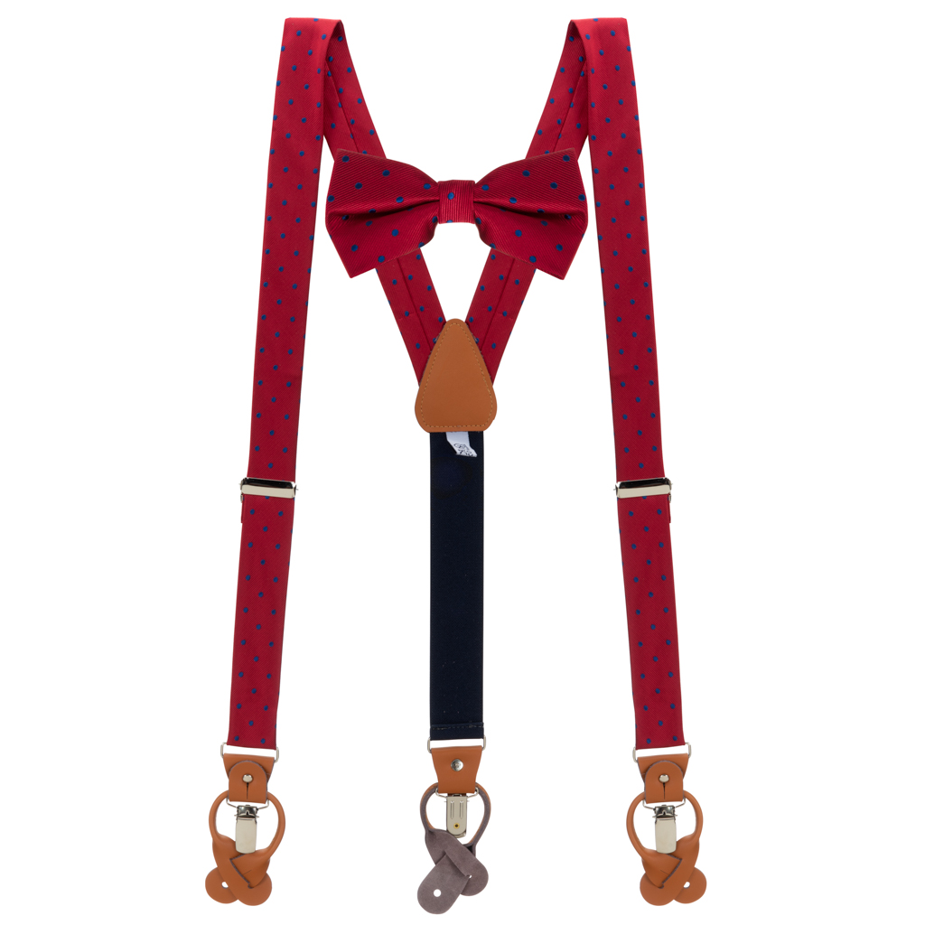 Bow Tie and Suspender Set in Red & Navy Polka Dot Pattern