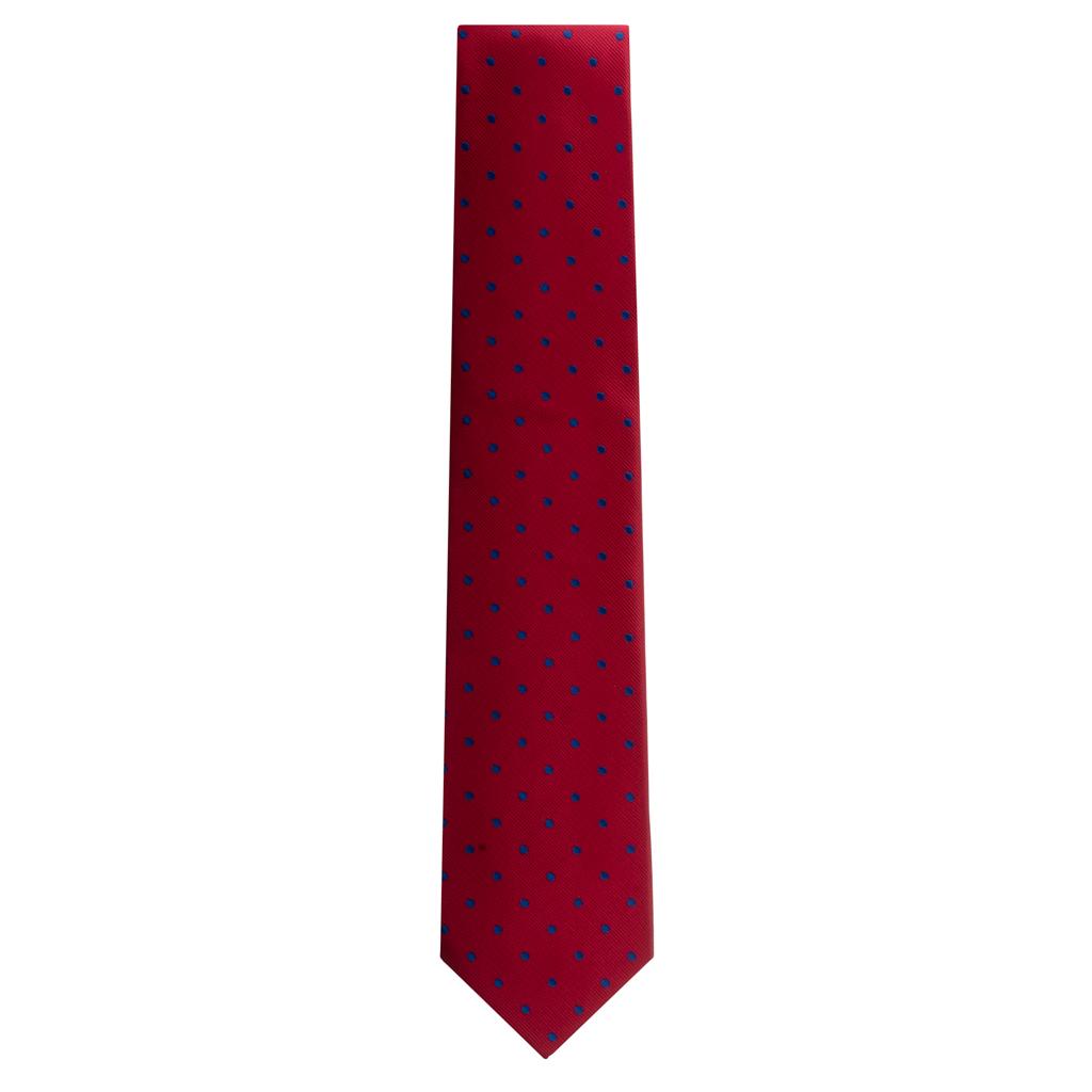 Necktie in Red & Navy Polka Dot Pattern