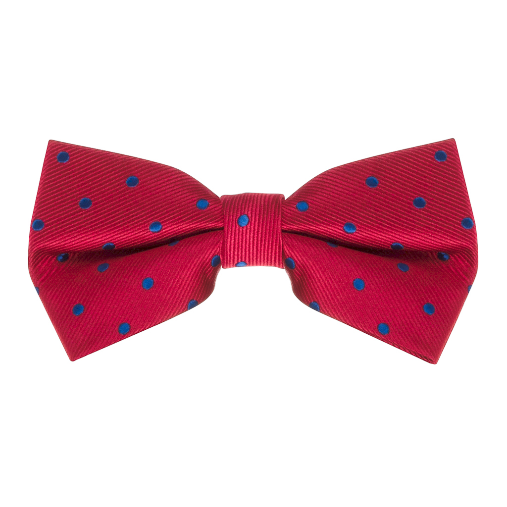 Bow Tie in Red & Navy Polka Dot Pattern