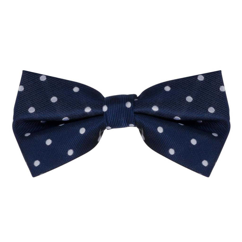Bow Tie in Navy & White Polka Dot Pattern